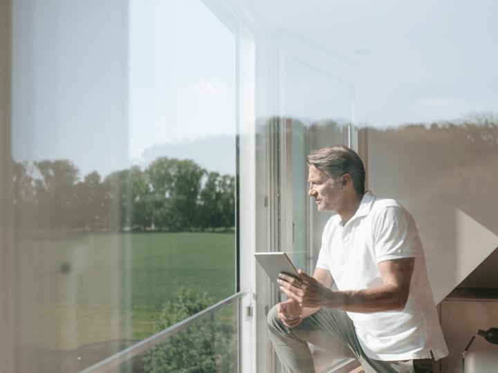 Man - window